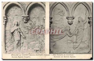 Old Postcard Church of St. Cudot Alpais Bas reliefs of the tomb