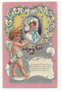 VALENTINE, 1900-10s; Cupid holding silver frame of Woman, Pansies