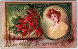 1910s Embossed Greetings Postcard Happy May Your BIRTHDAY Be Pretty Lady UNUSED
