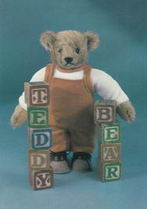 Margaret Steiff 1904 Teddy Bear With Counting Blocks Abacus Postcard