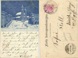 poland, KRAKOW CRACOW, Square, St. Mary's Basilica, Snow Scene (1899) Postcard