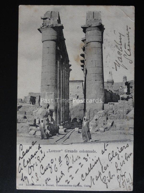 Egypt LOUXOR Grande Colonnade Shows EXCERVATION RAIL TRACK c1902 by Lichtonstern