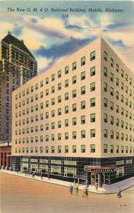Vintage Linen Postcard; New G.M.& O. Railroad Building, Mobile AL 114, Unposted