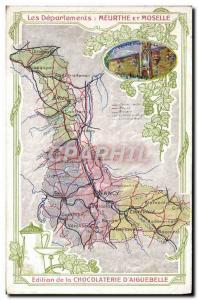 Postcard Old MAPS Chocolaterie d & # 39Aiguebelle Meurthe et Moselle Nancy Pa...