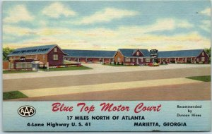 Marietta, Georgia Postcard BLUE TOP MOTOR COURT Highway 41 Roadside Linen c1950s