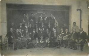 Old photo postcard dated 1929 music band to identify instruments cheers beer
