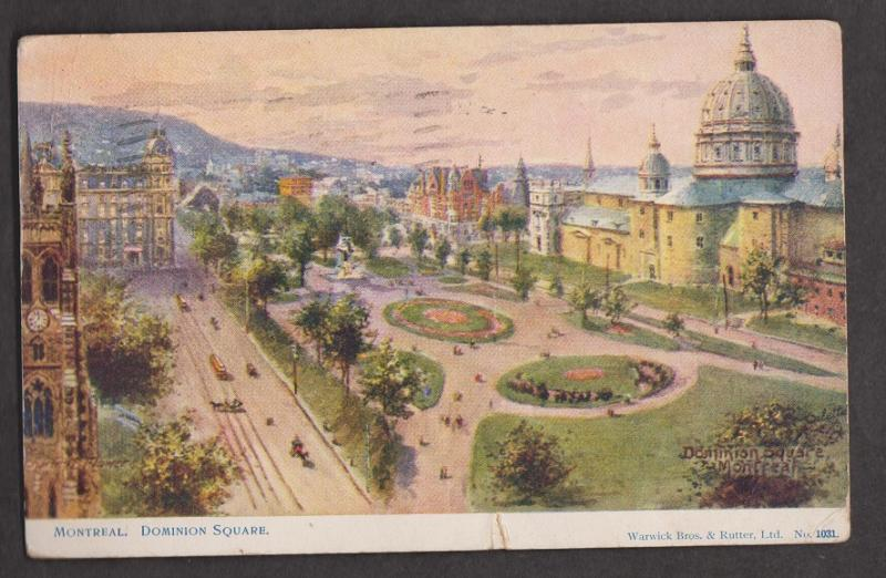 Dominion Square Montreal Quebec - Used 1919 - Small Tear Botton Edge