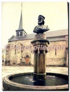 Postcard Modern VALLIERES church fountain