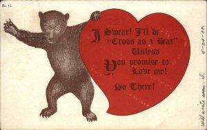 Big Bear Holding Giant Hear Valentine? c1910 Postcard