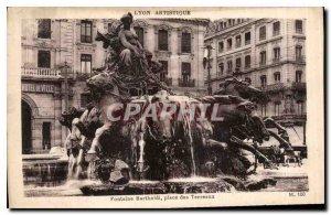 Postcard Old Lyon artistic Bartholdi Fountain Place Bellecour