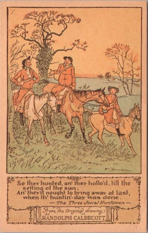 The Three Jovial Huntsmen Randolph Caldecott Art c1978 Vintage Postcard D40