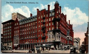 1910s Atlanta, Georgia Postcard The New KIMBALL HOUSE HOTEL / Street View
