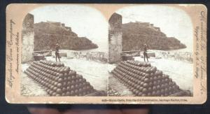 SANTIAGO CUBA MORRO CASTLE CANNON BALL ARTILLERY VINTAGE STEREOVIEW CARD