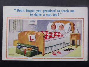 Donald McGill Postcard YOU PROMISED TO TEACH ME TO DRIVE A CAR TOO! c1950's