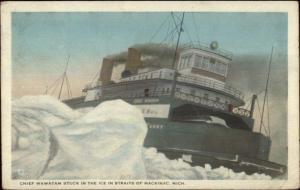 Straits of Mackinac MI Ferry Steamer Ship Chief Wawatam in Ice c1920 Postcard
