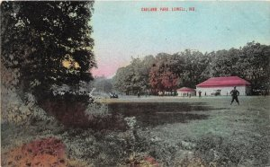 F93/ Lowell Indiana Postcard c1910 Oakland Park Baseball Game Field