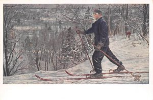 Man in the Mountains Snow Skiing Unused