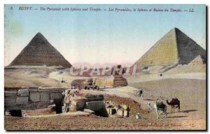 Postcard Ancient Egypt Egypt The Pyramids with sphinx and temple