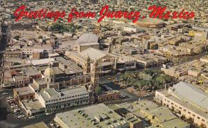 CIUDAD JUAREZ, Mexico, 1940-1960's; Aerial View Of City Showing The Plaza And...