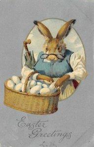LP42 Easter Postcard Dressed Animal Fantasy Rabbit Eggs