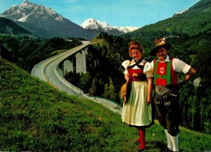Austria Tirol Brenner Autobahn Locals In Traditional Costume
