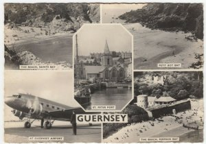 Guernsey; Multivew With BEA DC3 Airliner RP PPC By Photochrom, Unused, c  1910's