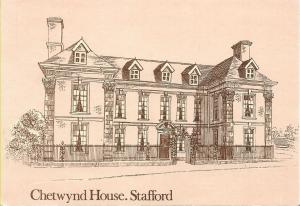 Chetwynd House, Stafford - Line drawing unused postcard celebrating Sheridan.