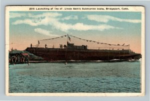 Bridgeport CT, Launching Submarine Boats, Vintage Connecticut c1917 Postcard