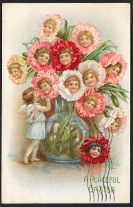 A Peaceful Easter Girls Faces In Flower Centers Used c1908