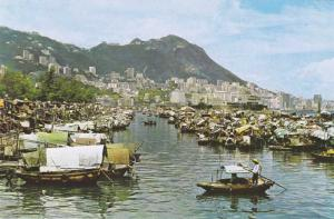 Hong Kong - Boat People in Causeway Bay Typhoon Shelter