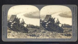 REAL PHOTO WWI BATTLE ACTION US ARMY TRACTOR COBLENZ GERMANY STEREOVIEW CARD