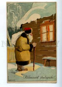202813 SANTA CLAUS near Window AXEL ROSMANN vintage NEW YEAR