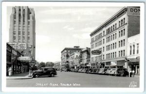RPPC  YAKIMA, Washington WA  Street Scene DONNELLY HOTEL & Theatre 1947 Postcard
