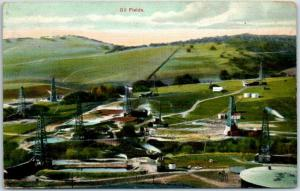 Vintage California Postcard OIL FIELDS Bird's-Eye / Panorama View c1910s
