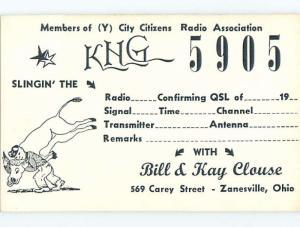 Bull - Qsl Cb Ham Radio Card Zanesville Ohio OH t8901