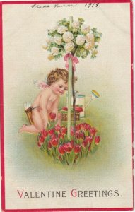 VALENTINE Greetings, 1919; Cupid picking red tulips