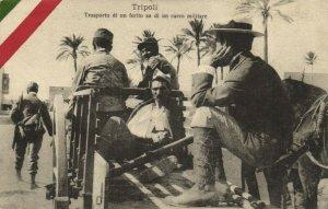 PC CPA LIBIA, TRIPOLI, TRANSPORTO DI UN FERITO, Vintage Postcard (b16619)