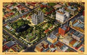 Utah Salt Lake City Aerial View Mormon Temple Square and Surroundiing Buildin...