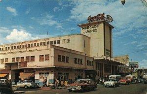 Circa 1960's Juarez, Mexico Classic Cars and Coca-Cola Sign Chrome Postcard