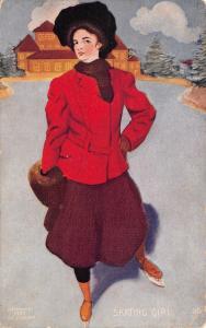 Skating Girl~Lovely Lady~Red Coat~Fur Muff Hat~Ice Skate~Artist~1907 EC Jessurun