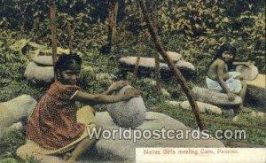 Native Girls Mealing Corn Republic of Panama 1909 Missing Stamp
