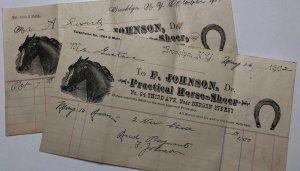1900s Lot of 2 Dr. F. Johnson Practical HORSE SHOER Brooklyn NEW YORK Billhead