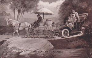 Humour Toot 'N' Be Darned Old Car Waiting Behing Horse & Wagon 1908