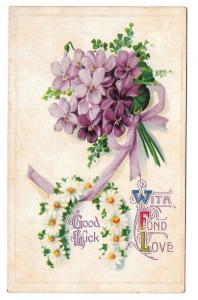 Good Luck With Fond Love Postcard Violets Daisy Horseshoe