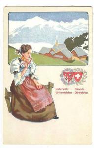 Lady Smelling Some Flowers, Unterwalden/Obwalden, Switzerland, 1910-1920s