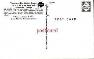c1950's THOMASVILLE MOTOR COURT GA C.A. Powell, Manager-Owner, motel