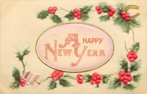 Happy New Year Heavily Embossed Hand Colored Postcard