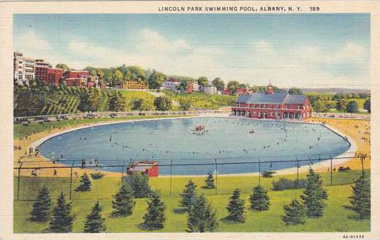 New York Albany Lincoln Park Swimming Pool Hippostcard