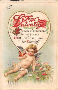 E12/ Valentine's Day Love Butterfly Postcard c1913 Hot Springs Arkansas Cupid 23