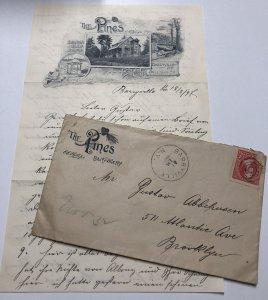 Vtg 1897 Lot of 2 THE PINES Shohola Glen Barryville New York Letterhead Envelope